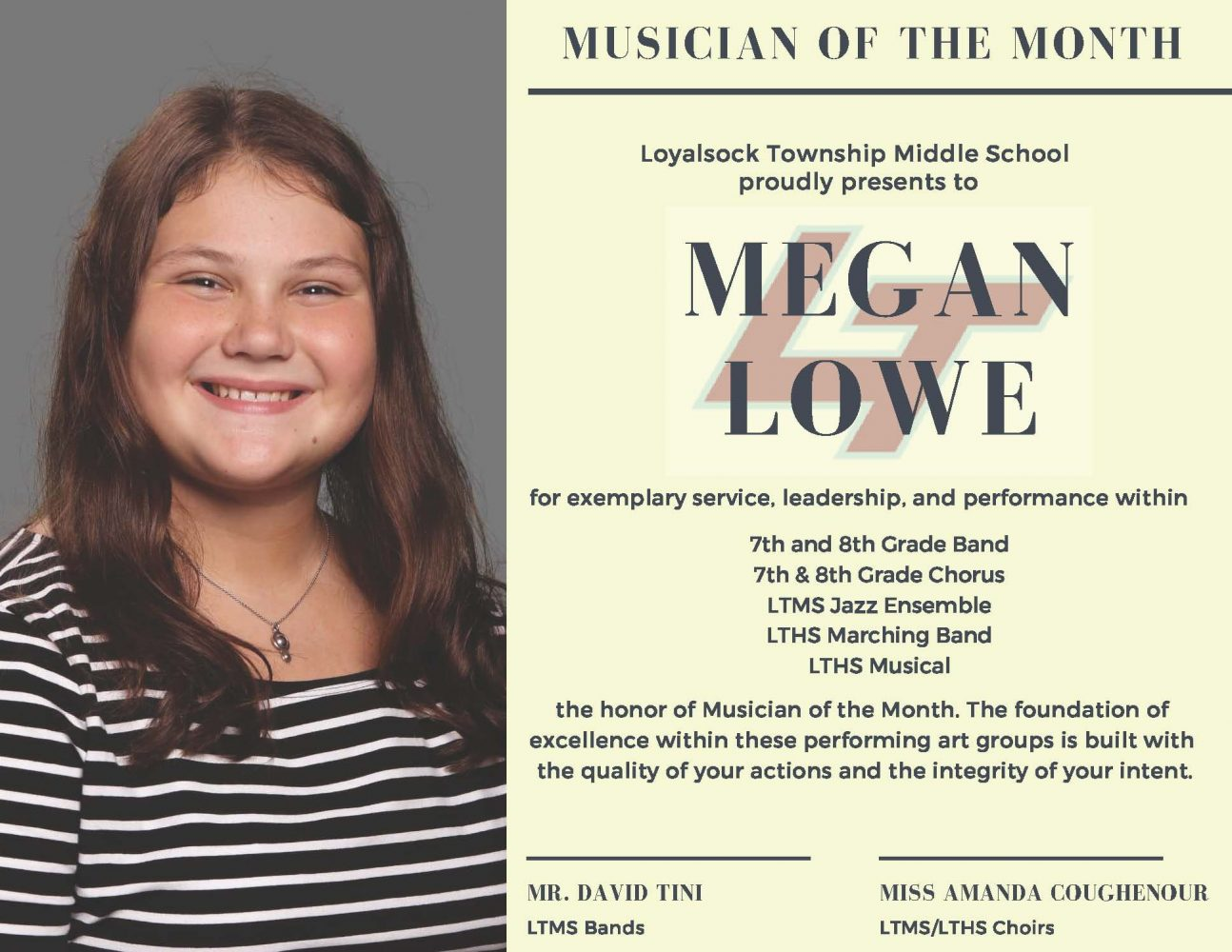 Megan Lowe/January 2019 Musician of The Month